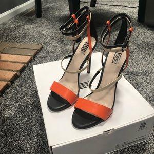 Brand New - Multi Black, Orange and Tan Sandal